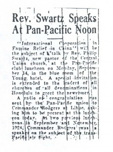 Rev. Swatz Speaks at Pan Pacific Union, 9-14-1925